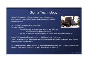 I O S O T e c h n o l o g y. Sigma Technology: