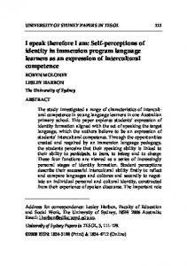 I speak therefore I am: Self-perceptions of identity in immersion program language learners as an expression of intercultural competence