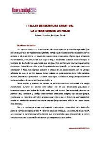 I TALLER DE ESCRITURA CREATIVA. LA LITERATURA EN UN FOLIO