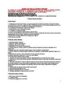 I. Temas de Derecho del Trabajo