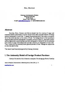 I. The Animosity Model of Foreign Product Purchase