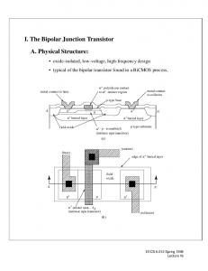 I. The Bipolar Junction Transistor. A. Physical Structure: