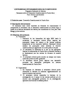 I-Título de curso- Desarrollo Constitucional de Puerto Rico