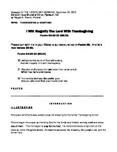 I Will Magnify The Lord With Thanksgiving