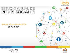#IABEstudioRRSS. Madrid, 20 de abril de
