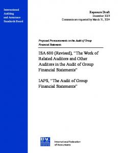 IAPS, The Audit of Group Financial Statements