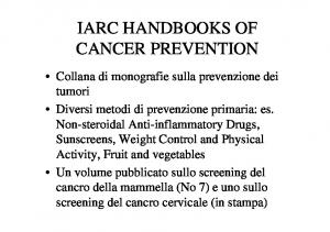 IARC HANDBOOKS OF CANCER PREVENTION