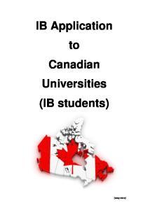 IB Application to Canadian Universities (IB students)