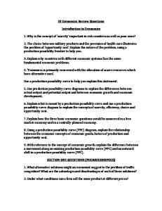 IB Economics Review Questions. Introduction to Economics