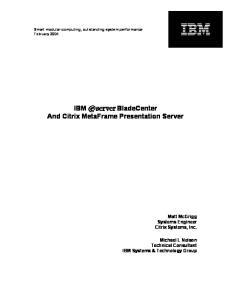 IBM ^ BladeCenter And Citrix MetaFrame Presentation Server