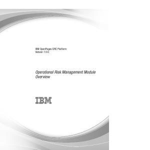 IBM OpenPages GRC Platform Version Operational Risk Management Module Overview