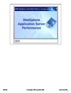 IBM WebSphere Web Multi-Platform Configuration WebSphere Application Server Performance
