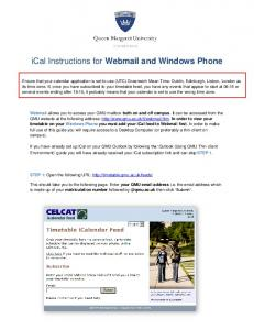 ical Instructions for Webmail and Windows Phone