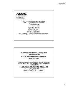 ICD-10 Documentation Guidelines