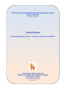 ICDS Systems Strengthening and Nutrition Improvement Project (ISSNIP) (Credit No IN) Terms of Reference
