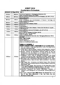 ICEST 2016 Conference Schedule MONDAY (23 May 2016) DAY 1