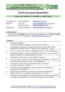 ICEVI European Newsletter