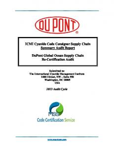 ICMI Cyanide Code Consigner Supply Chain Summary Audit Report. DuPont Global Ocean Supply Chain Re-Certification Audit