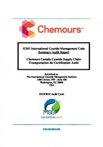 ICMI International Cyanide Management Code Summary Audit Report. Chemours Canada Cyanide Supply Chain Transportation Re-Certification Audit