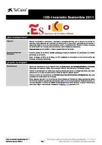 ICO-Inversión Sostenible 2011