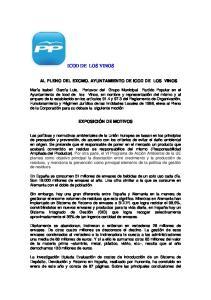 ICOD DE LOS VINOS AL PLENO DEL EXCMO. AYUNTAMIENTO DE ICOD DE LOS VINOS