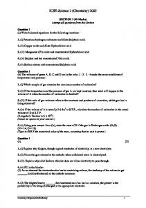 ICSE-Science 2 (Chemistry) 2005