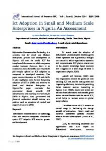 Ict Adoption in Small and Medium Scale Enterprises in Nigeria:An Assessment