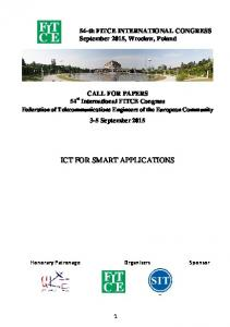 ICT FOR SMART APPLICATIONS