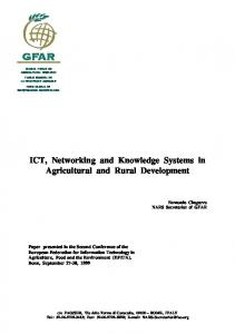 ICT, Networking and Knowledge Systems in Agricultural and Rural Development