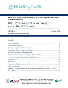 ICT Powering Behavior Change in Agricultural Extension