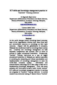ICT skills and knowledge management practice in Teachers Training Institute