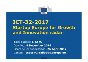 ICT Startup Europe for Growth and Innovation radar