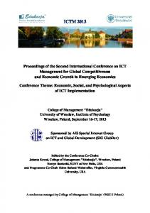 ICTM Second International Conference on ICT Management for Global Competitiveness and Economic Growth in Emerging Economies