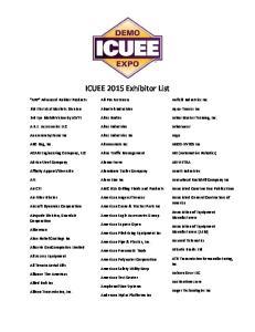 ICUEE 2015 Exhibitor List