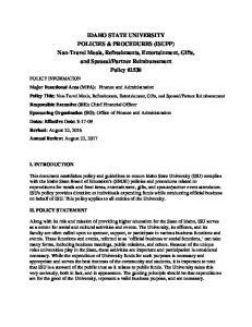 IDAHO STATE UNIVERSITY POLICIES & PROCEDURES (ISUPP)