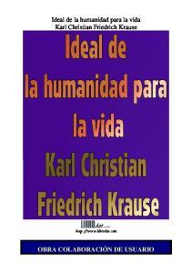 Ideal de la humanidad para la vida Karl Christian Friedrich Krause