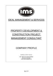 IDEAL MANAGEMENT & SERVICES PROPERTY DEVELOPMENT & CONSTRUCTION PROJECT COMPANY PROFILE