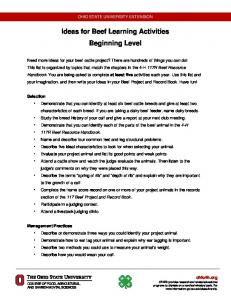 Ideas for Beef Learning Activities Beginning Level