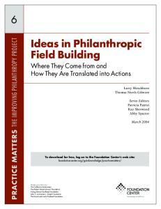 Ideas in Philanthropic Field Building