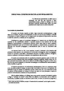 IDEAS PARA CONSTRUIR ESCUELAS DE PENSAMIENTO