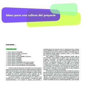 Ideas para una cultura del proyecto