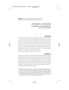 Identidades, nacionalidad y frontera en el Mercosur