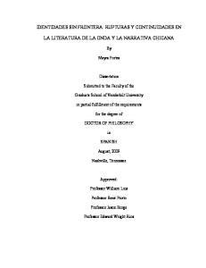 IDENTIDADES SIN FRONTERA: RUPTURAS Y CONTINUIDADES EN LA LITERATURA DE LA ONDA Y LA NARRATIVA CHICANA