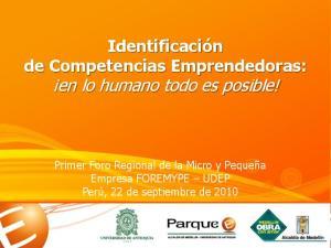 Identificación de Competencias Emprendedoras: en lo humano todo es posible!