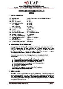 IDENTIFICACIÓN DE RIESGOS AMBIENTALES SÍLABO