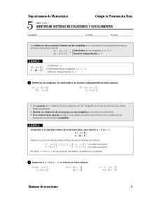 IDENTIFICAR SISTEMAS DE ECUACIONES Y SUS ELEMENTOS