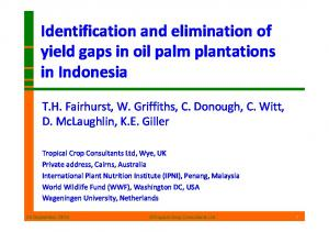 Identification and elimination of yield gaps in oil palm plantations in Indonesia