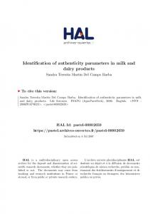 Identification of authenticity parameters in milk and dairy products