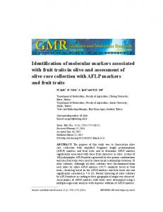 Identification of molecular markers associated with fruit traits in olive and assessment of olive core collection with AFLP markers and fruit traits