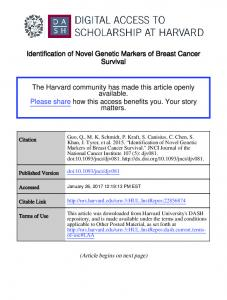 Identification of Novel Genetic Markers of Breast Cancer Survival